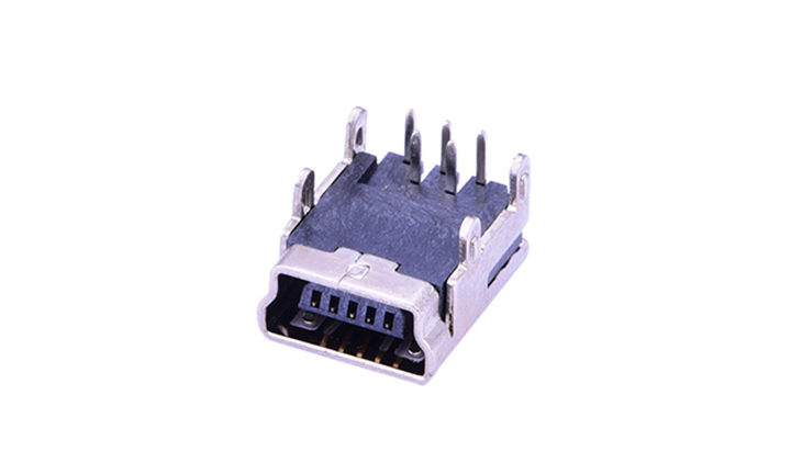 FUS104 Mini USB 5Circuits 90°Angle Female(DIP)